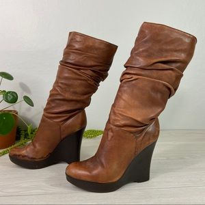 Jessica Simpson Slouch Leather Boot Wedge